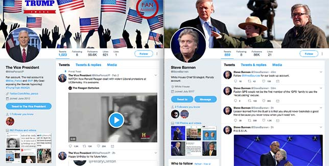 Twitter parody accounts for Mike Pence and Steve Bannon. Source: Robhat Labs.