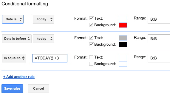 Extending Conditional Formatting in Google Sheets Using