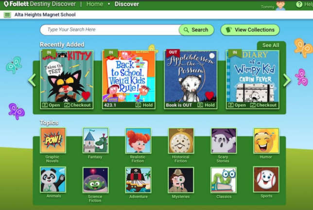 Destiny Discover's friendlier student interface for young learners