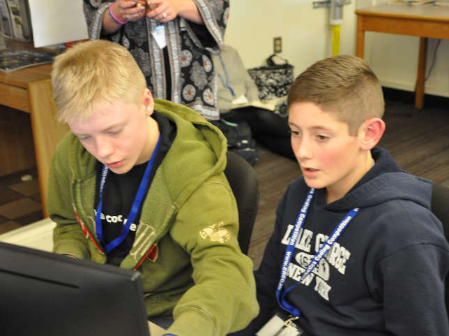 The students were competing in the finals of the 2018 New Hampshire Cyber Robotics Coding Competition, held Dec. 15 at the University of New Hampshire campus in Durham.