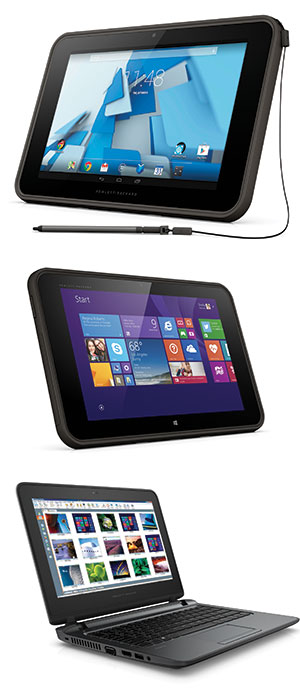 Top to bottom: the HP Pro Slate 10 EE (Google Android), the HP Pro Tablet 10 EE (Microsoft Windows) and the HP ProBook 11 EE touchscreen notebook
