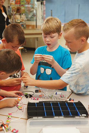 Students in the makerspace at White Rock Elementary School work and play with Littlebits and MakeyMakeys.