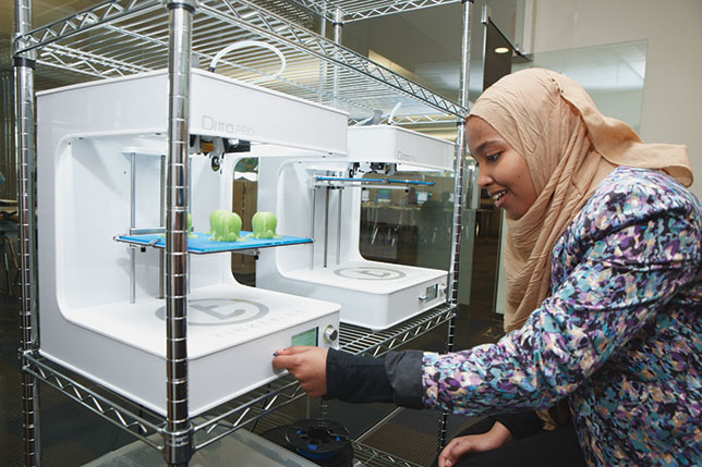 At the Surrey Academy of Innovative Learning (SAIL), the district's blended learning program, a student explores the possibilities of 3D printing.