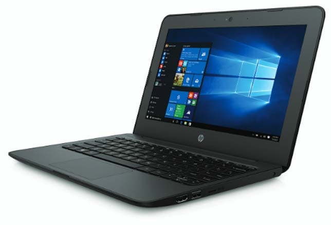 "The HP Stream 11 Pro G4 Education Edition notebook features a rugged design with co-molded rubber and a unique impact-dispersion pattern designed to protect the hinges along with a spill-resistant keyboard and an optional ""always-on"" case."