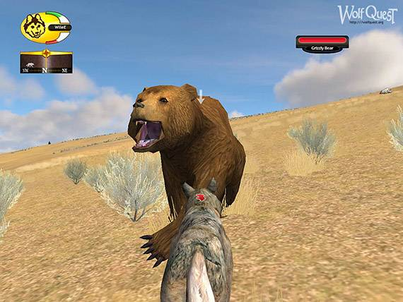 Screenshot from the game WolfQuest