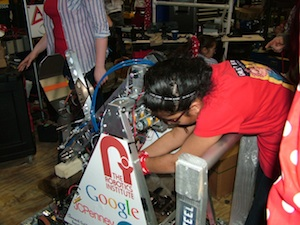 Team 3504, AKA Girls of Steel, had six weeks to design and build a robot for the FIRST robotics competition. Photo courtesy of The Girls of Steel.