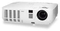 The NEC V300X is a networkable projector that offers up to 5,000 hours of lamp life in economy mode.