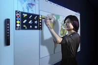 The uBoard creates an interactive whiteboard out of a standard projector and PC.
