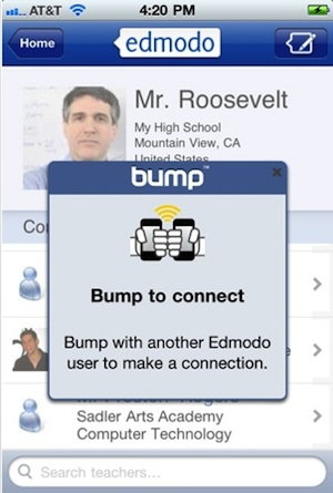 The new bump functionality in the mobile editions of Edmodo