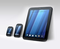 The HP webOS lineup includes the TouchPad tablet and Pre handheld devices.