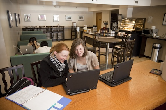 A view of the all-digital library at Cushing Academy