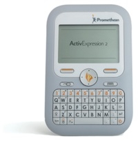 The ActivExpression2 interactive polling device adds a larger LCD screen and includes a QWERTY keyboard with hot keys and a direction pad.