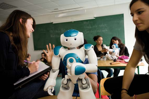 The Aldebaran NAO robot in a high school classroom