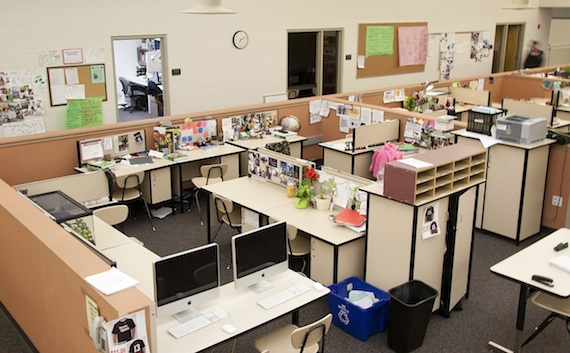 Cubicle-style pods are made up of 10 individual workstations each.