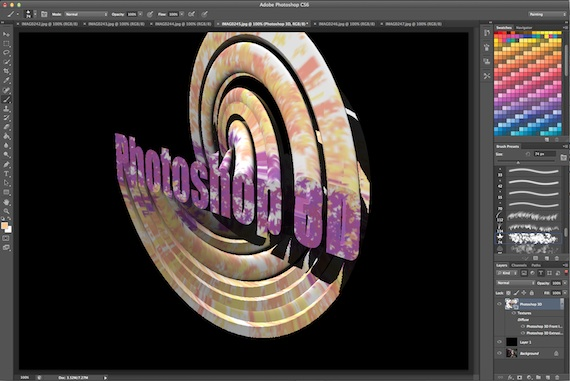 Photoshop CS6 3d and paint effects