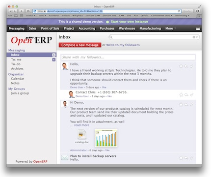 New collaborative communications features in OpenERP 7.0
