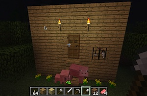 My daughters Minecraft with lots of pigs because she added a pig spawner.