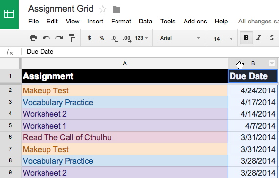 Formatting Cells Based on Date Ranges in Google Sheets THE Journal – Google Worksheet