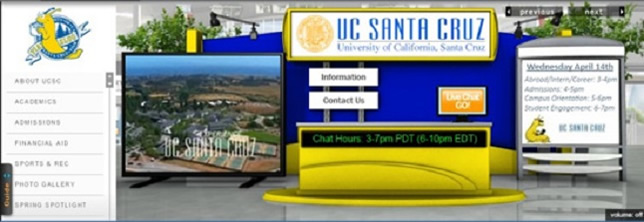CollegeWeekLive already holds numerous virtual college fairs, like this one for UC Santa Cruz.