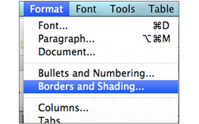 Borders and Shading Selected in Microsoft Word 2011