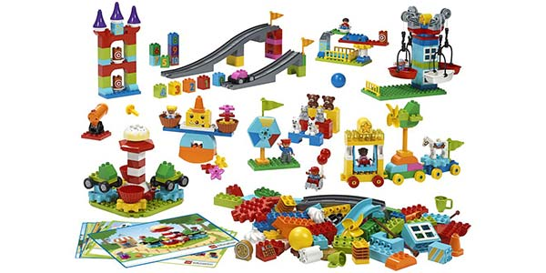The kit includes 295 DUPLO bricks, which are larger than standard Lego bricks. The set has gears, tracks, pulleys, boats and figures, as well as eight double-sided building inspiration cards with 16 models to build.