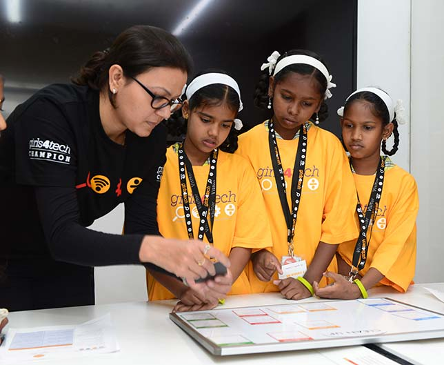 Mastercard's Girls4Tech sessions bring female role models together with female students to talk about career options and try out STEM activities.