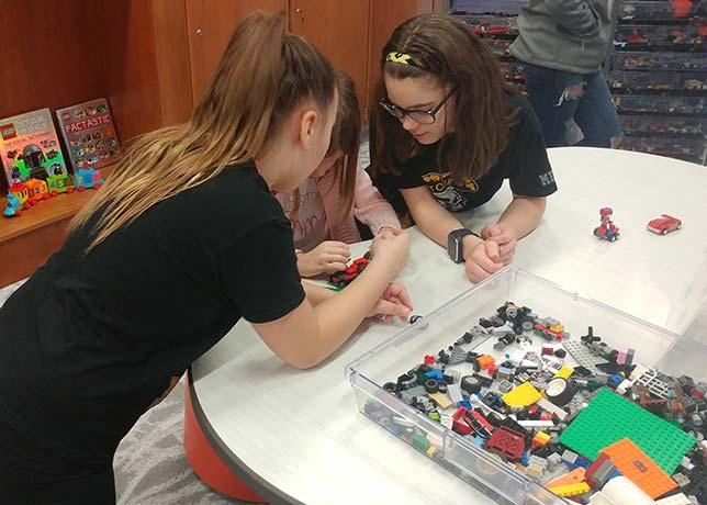 Montour Elementary students collaborate on designing and building cars, which they will then race down a custom track built by Montour High School students. That's just one set of hands-on activities in Montour Elementary's new Brick Makerspace, which formally opened Feb. 22.