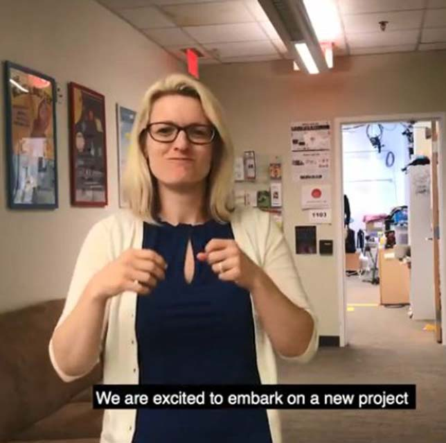 Melissa Malzkuhn, creative director for Gallaudet University's Motion Light Lab, introduces her team's entry, SignShare, in a video produced for the Sign On For Literacy grand challenge.