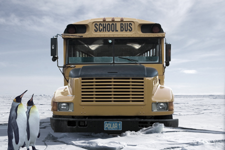 Composite of a school bus breaking ice in Antarctica. Penguins look on in bemusement.