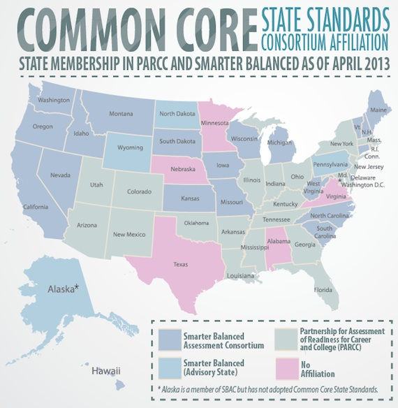 Common Core State Standads State Affiliation (Map)