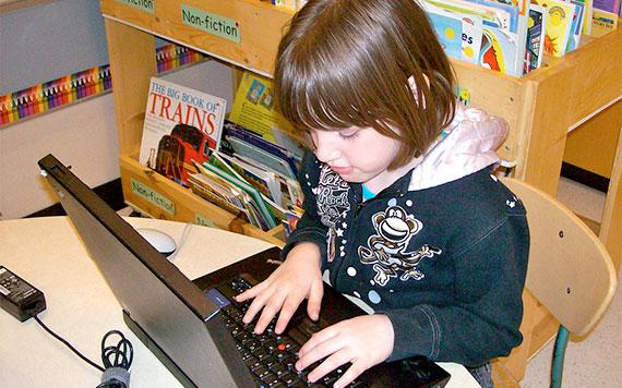 young student blogging for digital portfolio