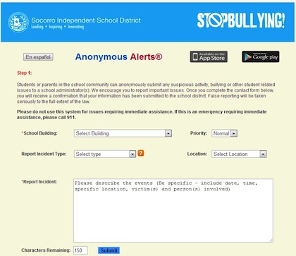 Anonymous Alerts allows users to pull up a short form to provide details about an incident for reporting.