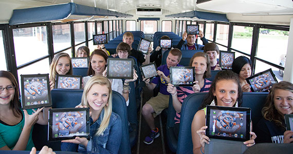 students online on a bus