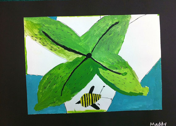 painting of a leaf & a bug