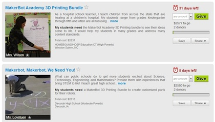 MakerBot's Academy program asks educators to create a request on DonorsChoose to raise funds for academy bundles.