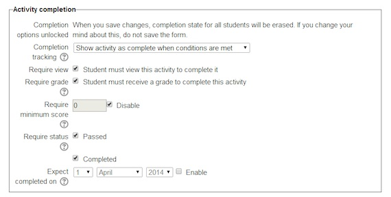Moodle dialog box for scorm integration