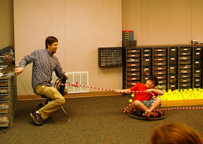 Lamplighter School Teacher Bill Burton teaches students about friction.