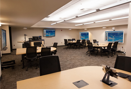 The Doceo lab features five collaboration centers with touch displays and iPads.