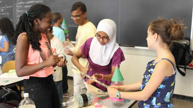 Students build rockets with plastic and duct tape in a physics course offered as part of MIT's STEM Summer Institute. Photo credit: Meredith Lawrence.