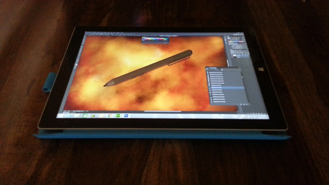 The Surface Pro 3 pressure-sensitive stylus gives users a more natural drawing and painting experience.