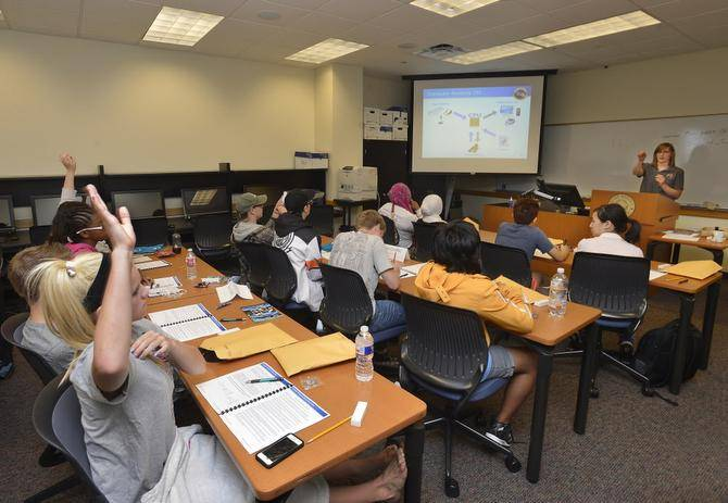About 50 female high school students are attending a CyberCamp this week at Texas Woman's University in Denton, TX.