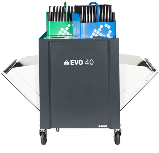 The EVO 40 Cart from LocknCharge features two wells with carry baskets to speed device distribution.