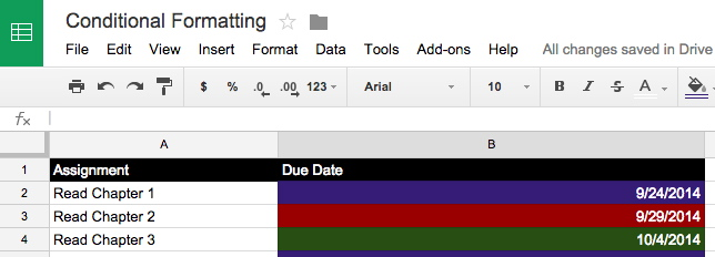 conditional formatting in Goole Sheets