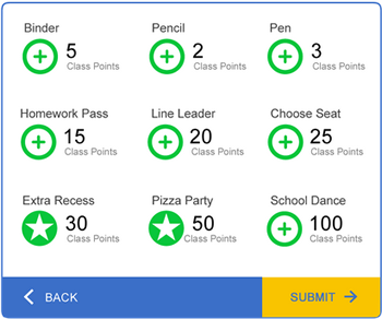 LiveSchool allows students to trade their behavior points for rewards such as school supplies or a class pizza party.