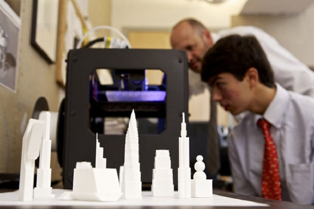 Students at the private school in New Jersey used 3D printers to create multidimensional architectural renderings.