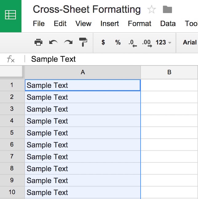 illustration of custom formula-based condtional formatting in Google Apps Google Sheets
