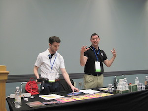 Brad Waid, (right) and Drew Minock, co-founders of Two Guys and Some iPads presented Thursday at FETC 2015, delivering a talk titled Bring a New Dimenson to Learning with Augmented Reality.