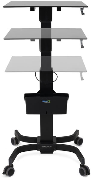 Ergotron's LearnFit desks can be easily adjusted from a sitting to a standing position and roll for easy classroom configuration.