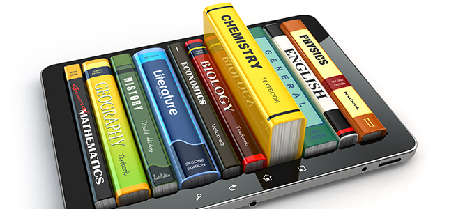 illustration of books emerging from a tablet screen.