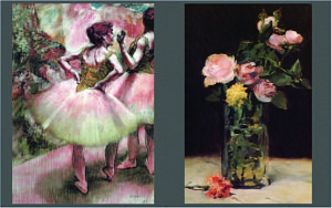 Degas' Dancers Wearing Pink and Green and Manet's Roses in a Glass Vase